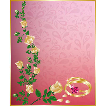 ring ruby: Wedding card with rings and white roses
