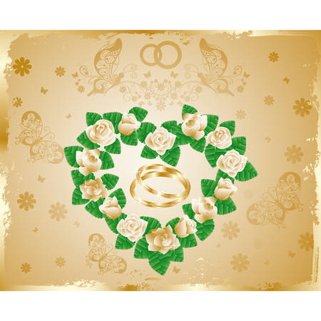 Wedding card with golden rings  Vector