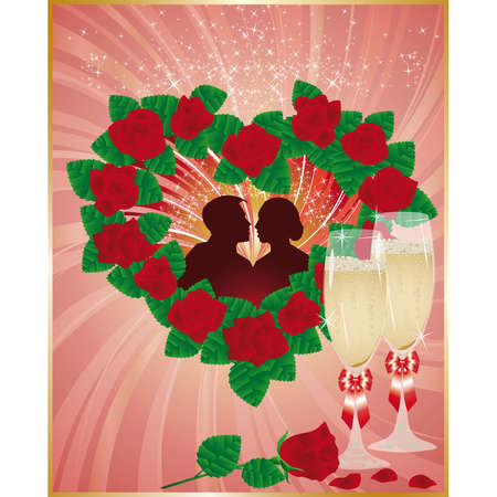 Wedding love card with lovers and champagne  Vector