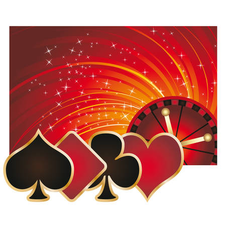 Casino Poker background with roulette Vector