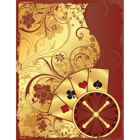 gambler: Casino background with roulette and poker cards