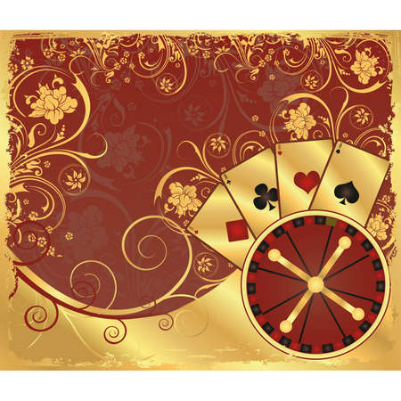 casino roulette: Casino gold background with poker cards