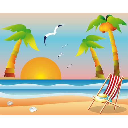 marine bird: Tarjeta de playa de viajes  Vectores