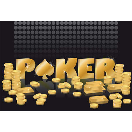 illustration poker theme with gold coins and bars Stock Vector - 7056652