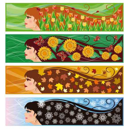 Set of banners Seasons Vector