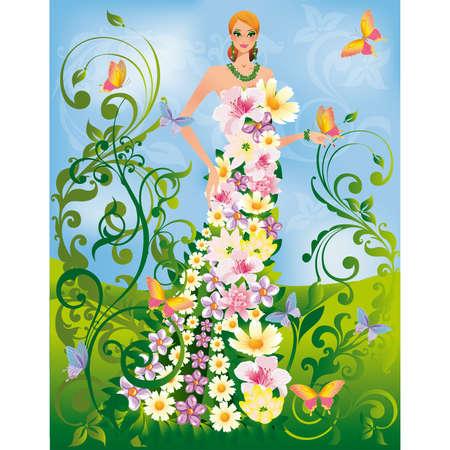 green hair: Summer women Illustration