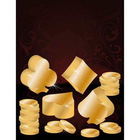 Vector illustration poker theme with gold coins  Stock Vector - 7156044