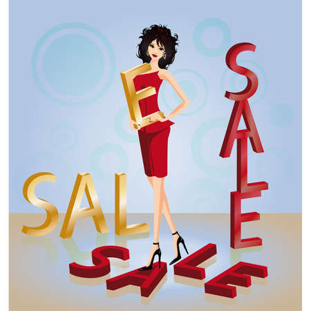 Brunette girl and word SALE in 3D image Stock Vector - 7175419