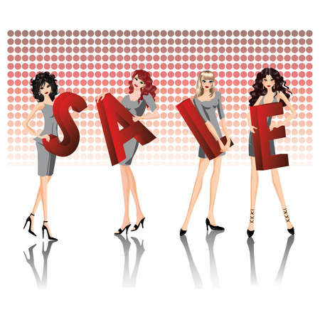 discount banner:  Four girls keep red letters of a word SALE