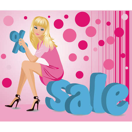 Blonde girl with letters of a word SALE in 3D image. Vector