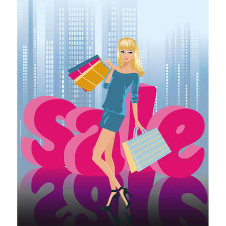 Blonde girl in shopping with letters of a word SALE in 3D image.  Vector
