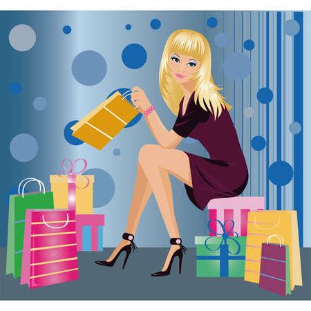 city living: Shopping fashion girl , vector