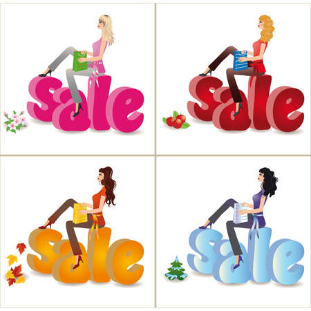 family shopping: Seasons sale in 3d image. vector