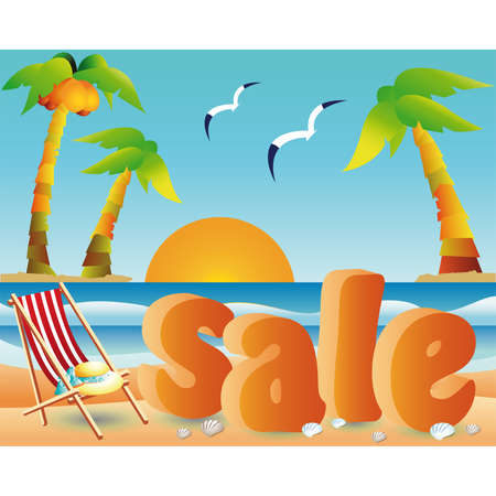 armchair shopping:  Beach sale with sun in 3d image. vector  Illustration
