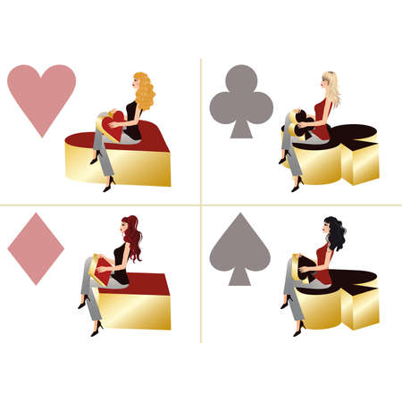 Set four girls and poker elements in 3D image. vector illustration  Vector