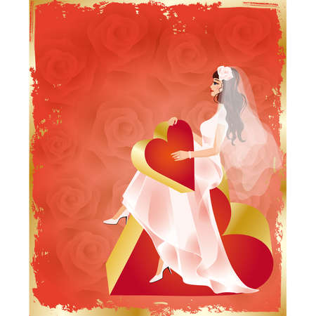 Wedding card, bride with red heart and roses, vector  Vector