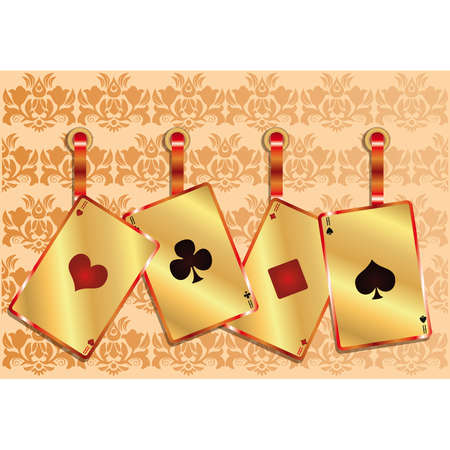 Gambling poker background with golden seamless pattern, vector  Vector