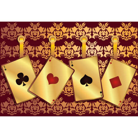 poker background with golden seamless pattern, vector  Vector
