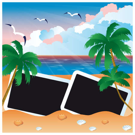 summer break: Travel card with two photo frame  Illustration