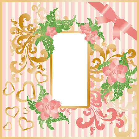 Greeting love card with frame photo.   Vector