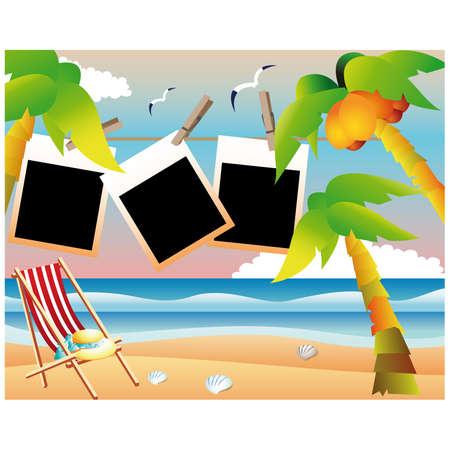 summer break: Beach card with photo frame