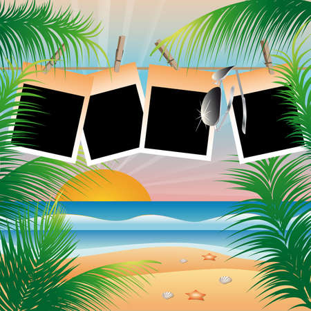 album: Summer beach card with photo frame  Illustration