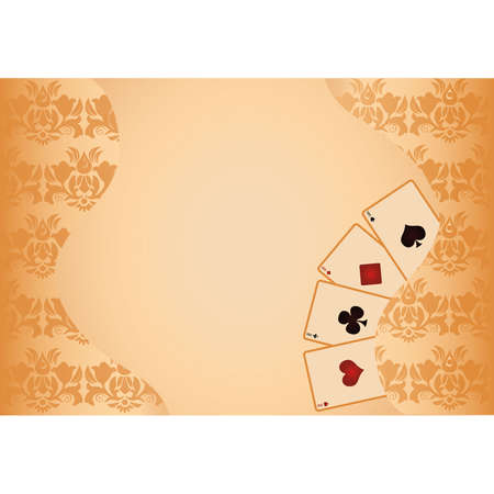 Gambling poker background with golden seamless pattern Vector
