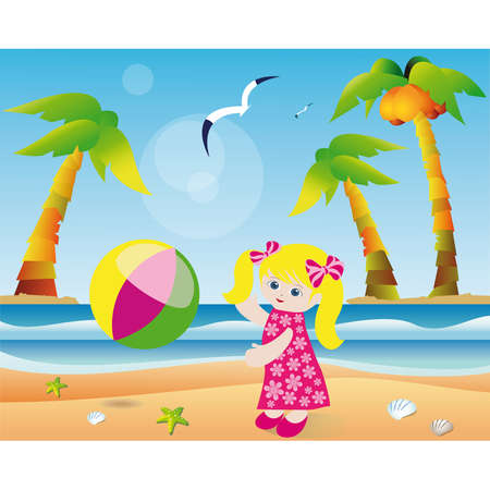 Girl playing ball on the beach. Vector