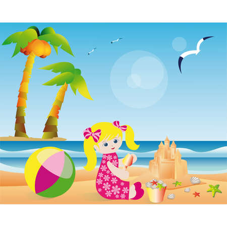 Summer card, girl builds a sand castle. Vector