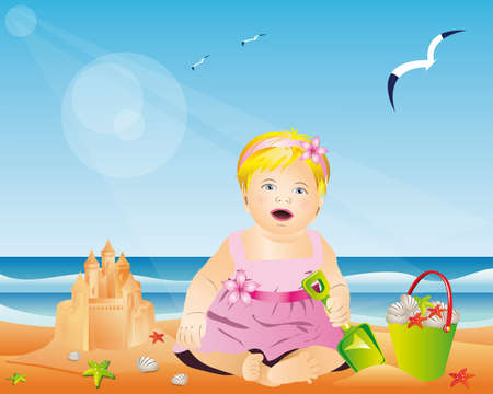girl and sand castle. Stock Vector - 7351237