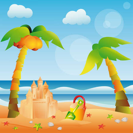 Summer card with sand castle. Stock Vector - 7377731