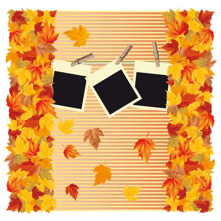 Herfst achtergrond met fotolijstjes Stock Illustratie