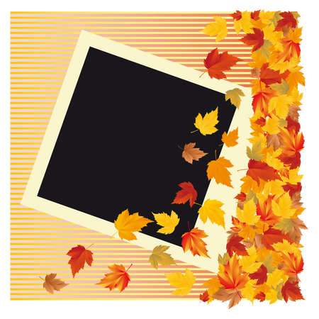 scrapping: Autumn photo frame,  illustration
