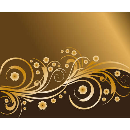 Gold Flower Design Background  Stock Vector - 7474726