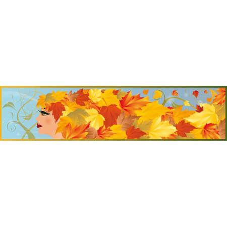 Banner autumn girl Stock Vector - 7474731