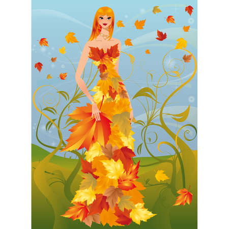 ornament  jewellery: Autumn women,  illustration  Illustration