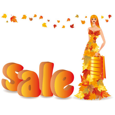 Autumn sale and shopping girl Stock Vector - 7474741