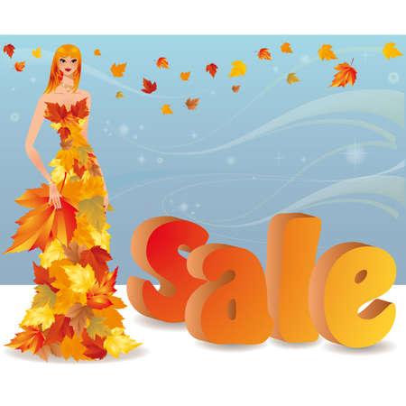Autumn shopping girl  Vector