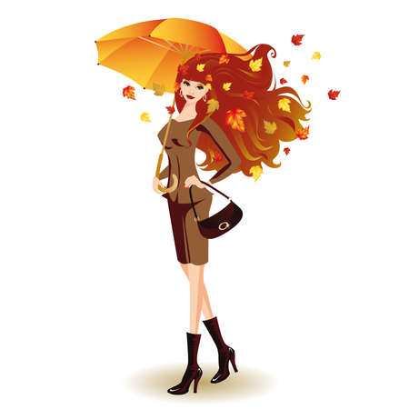 autumn woman: Autumn fashion woman with umbrella  Illustration