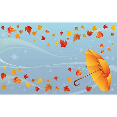 Autumn background with umbrella  Vector