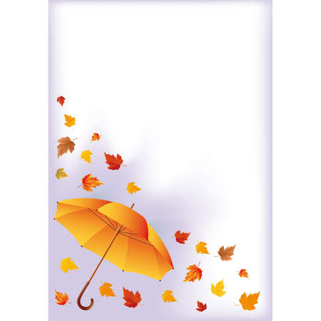 Autumn card with umbrella Vector