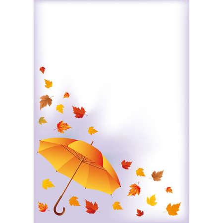 Autumn card with umbrella Vector