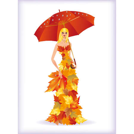 Autumn lady with red umbrella  Vector