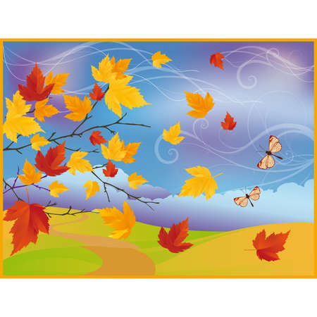 Autumn card with maple tree  Stock Vector - 7587425