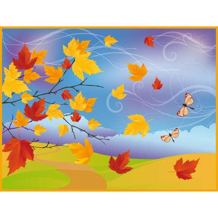 Carte automne avec érable