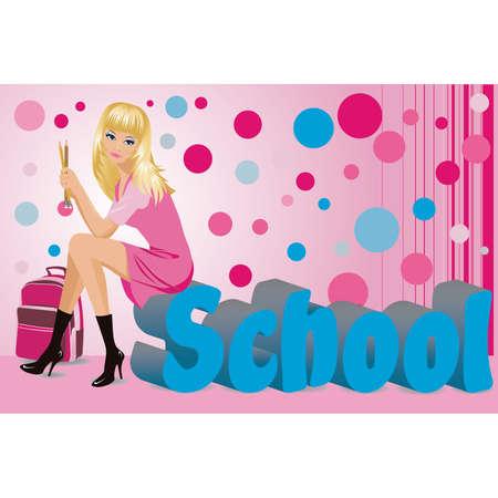 The beautiful schoolgirl with pencils.  Vector
