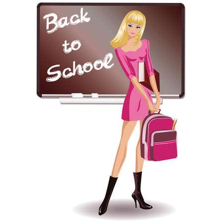The beautiful schoolgirl , Back to School  Stock Vector - 7587472