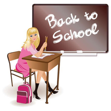 The schoolgirl sits at a school desk  Stock Vector - 7587481