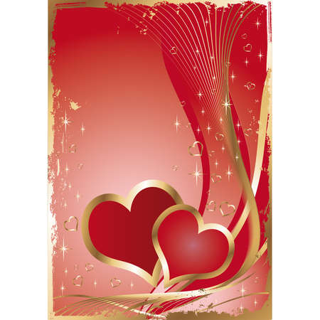 red cards:  Wedding card with two hearts