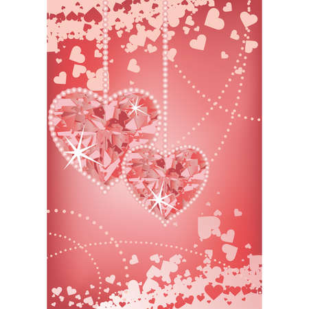 Wedding love card with hearts  Vector